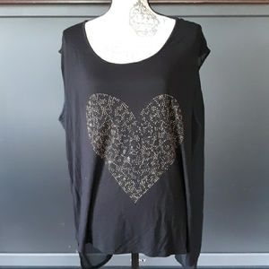 Say what black with rhinestones heart sheer back